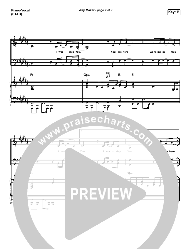 Way Maker Piano/Vocal (SATB) (Sinach)