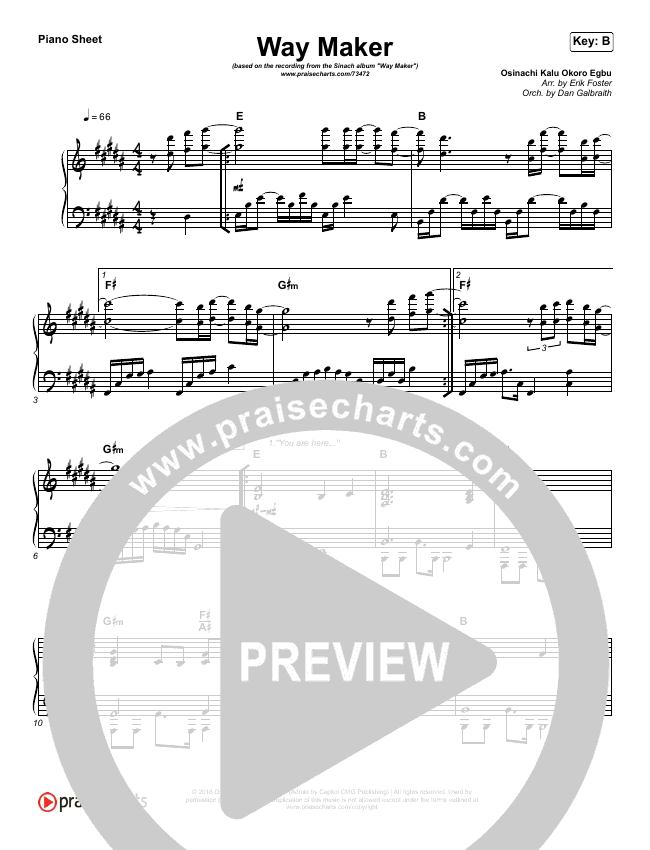 Way Maker Piano Sheet (Sinach)