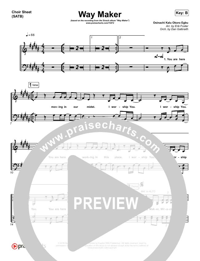 Way Maker Choir Sheet (SATB) (Sinach)