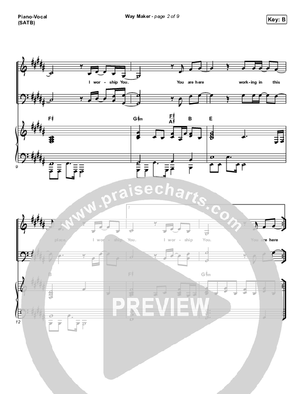 Way Maker Piano/Vocal (SATB) (Sinach)