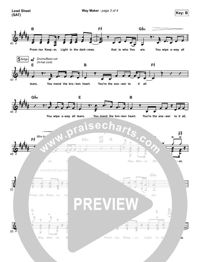 Way Maker (Live) Lead & Piano/Vocal (Sinach)