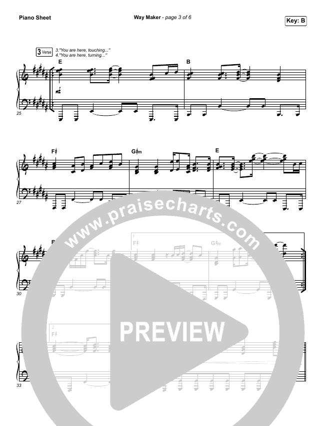 Way Maker (Live) Piano Sheet (Sinach)
