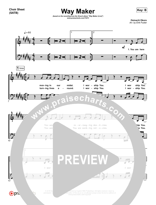 Way Maker (Live) Choir Sheet (SATB) (Sinach)