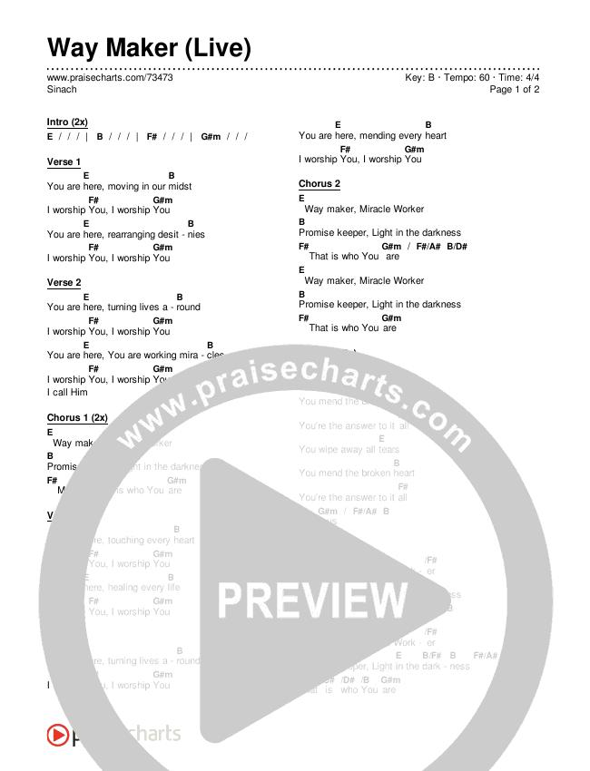 Way Maker (Live) Chords & Lyrics (Sinach)