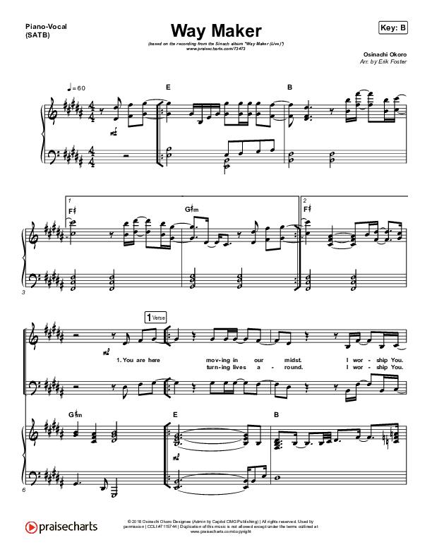 Way Maker (Live) Piano/Vocal (SATB) (Sinach)