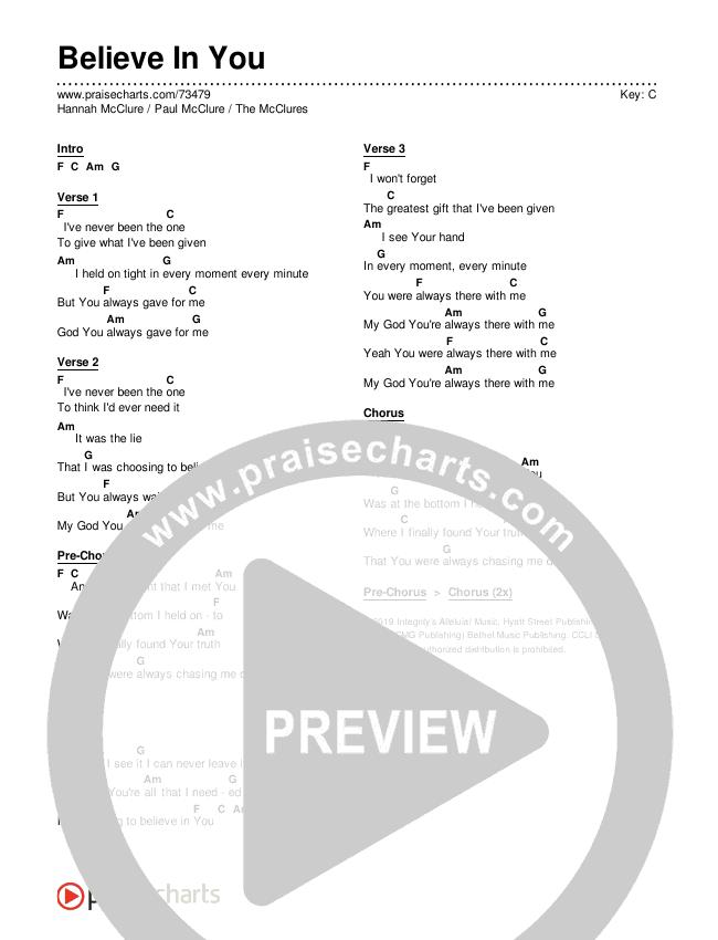 Believe In You Chords & Lyrics (The McClures / Paul McClure / Hannah McClure)