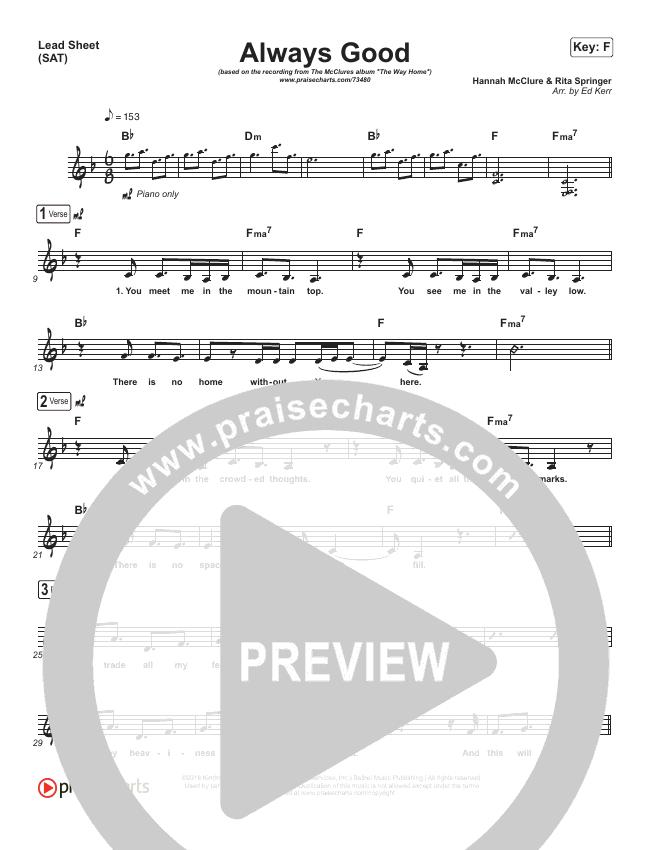 Always Good Lead Sheet (SAT) (The McClures / Paul McClure / Hannah McClure)