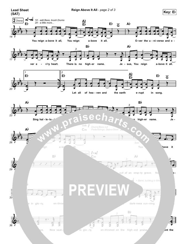 Reign Above It All Lead Sheet (SAT) (The McClures / Paul McClure / Hannah McClure)