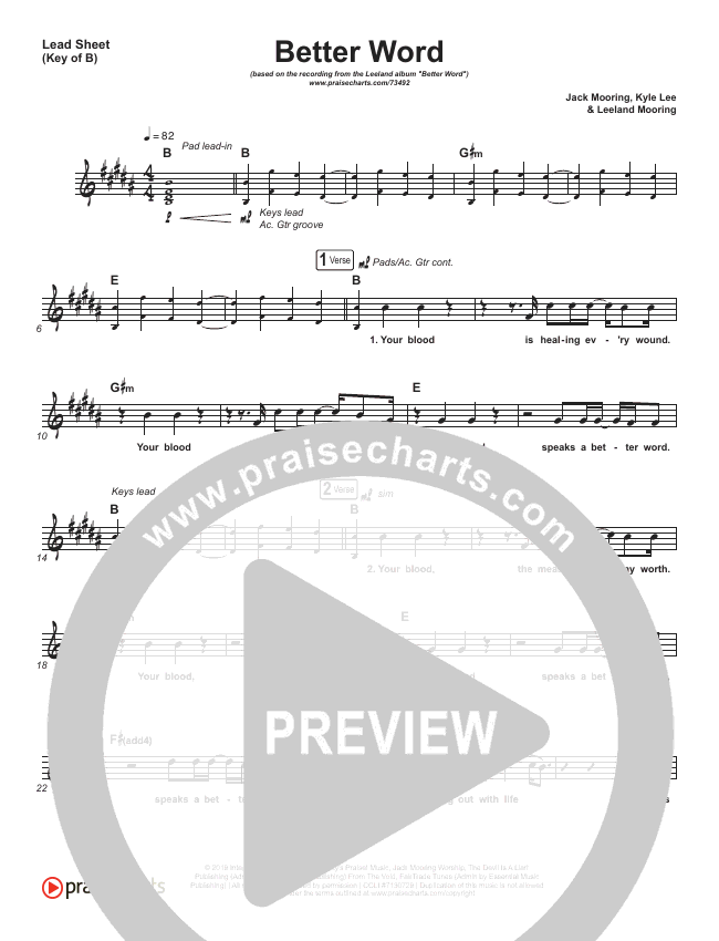 Better Word (Live) Lead Sheet (Melody) (Leeland)