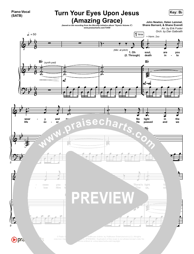 Turn Your Eyes Upon Jesus (Amazing Grace) Piano/Vocal (SATB) (Shane & Shane / The Worship Initiative)