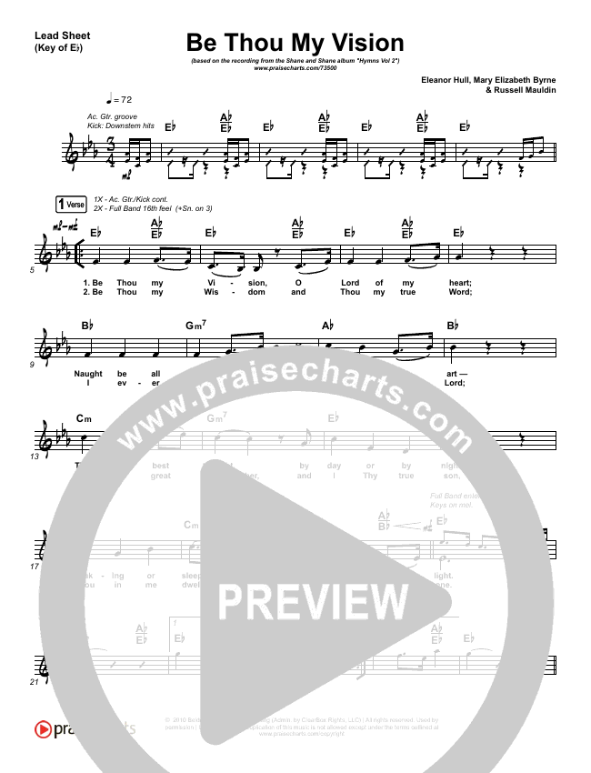 Be Thou My Vision (Lord You Are) Lead Sheet (Melody) (Shane & Shane / The Worship Initiative)