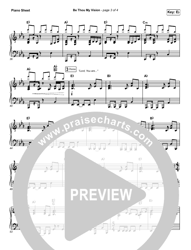 Be Thou My Vision (Lord You Are) Piano Sheet (Shane & Shane / The Worship Initiative)
