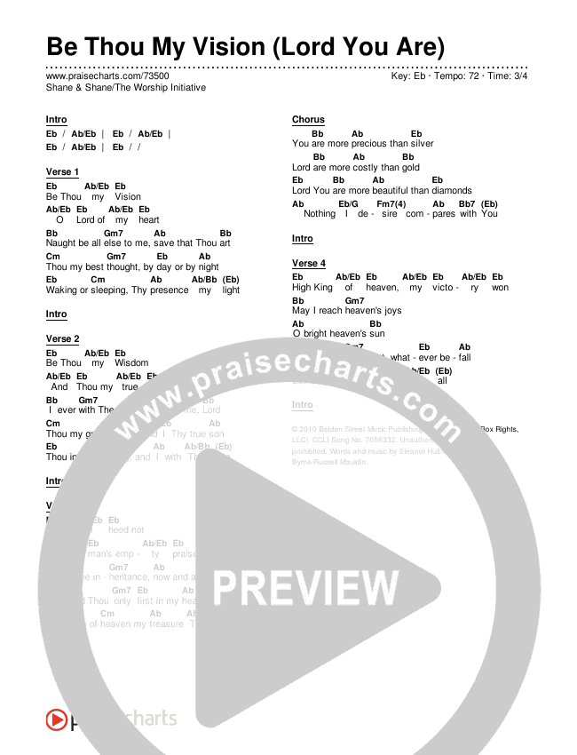 Be Thou My Vision (Lord You Are) Chords & Lyrics (Shane & Shane / The Worship Initiative)