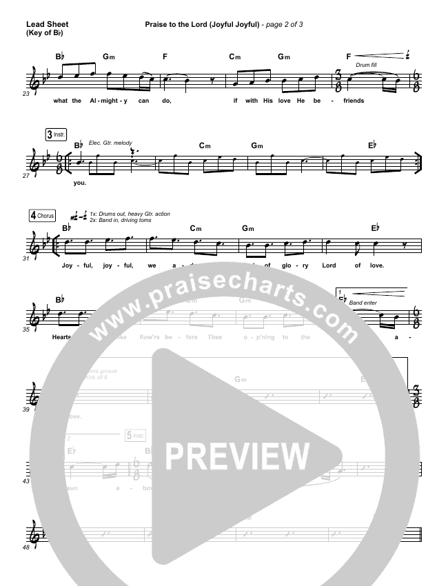 Praise To The Lord (Joyful Joyful) Lead Sheet (Melody) (Shane & Shane/The Worship Initiative)