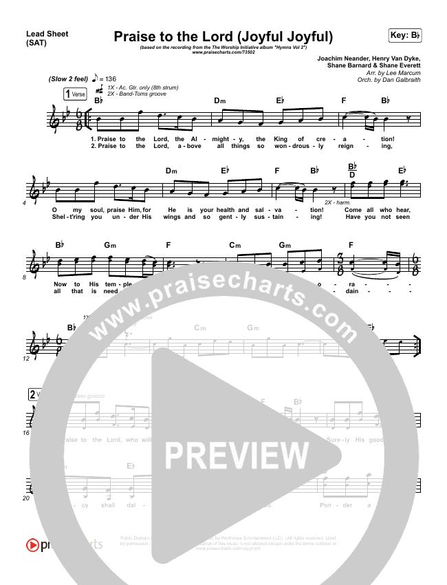 Praise To The Lord (Joyful Joyful) Lead Sheet (SAT) (Shane & Shane / The Worship Initiative)