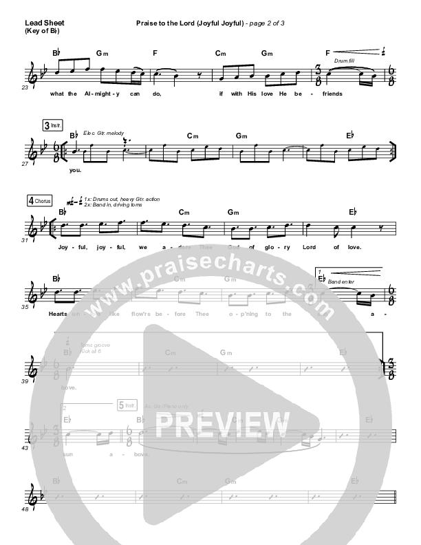 Praise To The Lord (Joyful Joyful) Lead Sheet (Melody) (Shane & Shane / The Worship Initiative)