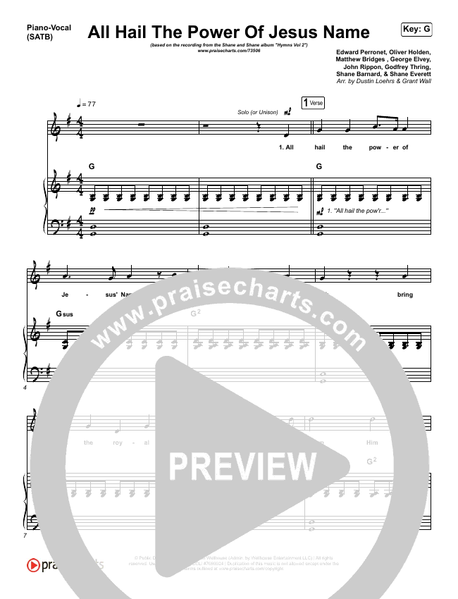 All Hail The Power Of Jesus Name Piano/Vocal (SATB) (Shane & Shane / The Worship Initiative)