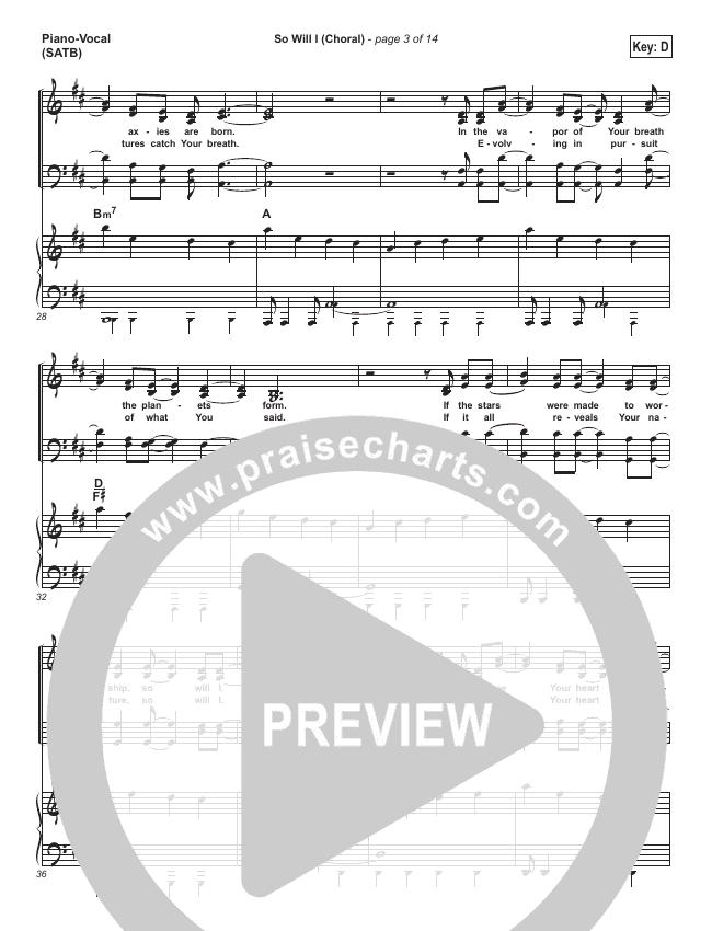 So Will I (100 Billion X) (Choral) Orchestration (PraiseCharts Choral / Hillsong Worship)