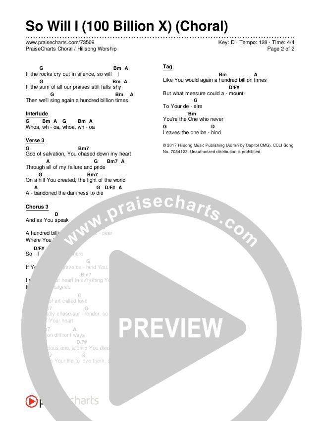 So Will I (100 Billion X) (Choral) Chords & Lyrics (PraiseCharts Choral / Hillsong Worship)