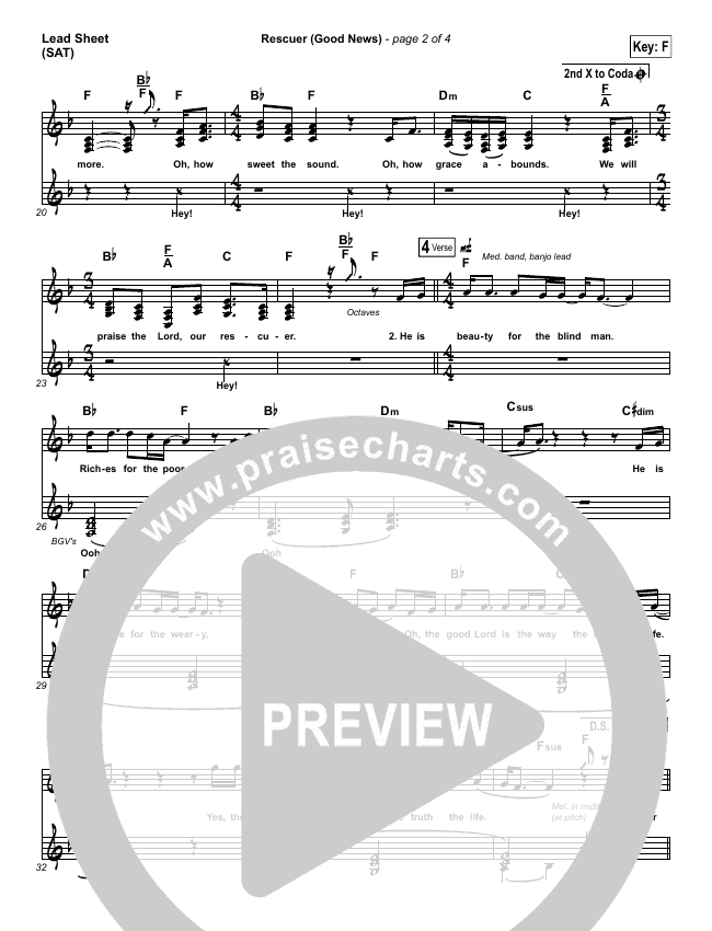Rescuer (Good News) (Choral) Lead Sheet (SAT) (PraiseCharts Choral / Rend Collective / Arr. Luke Gambill)