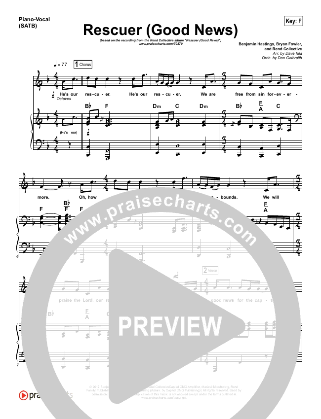 Rescuer (Good News) (Choral) Piano/Vocal (SATB) (PraiseCharts Choral / Rend Collective / Arr. Luke Gambill)