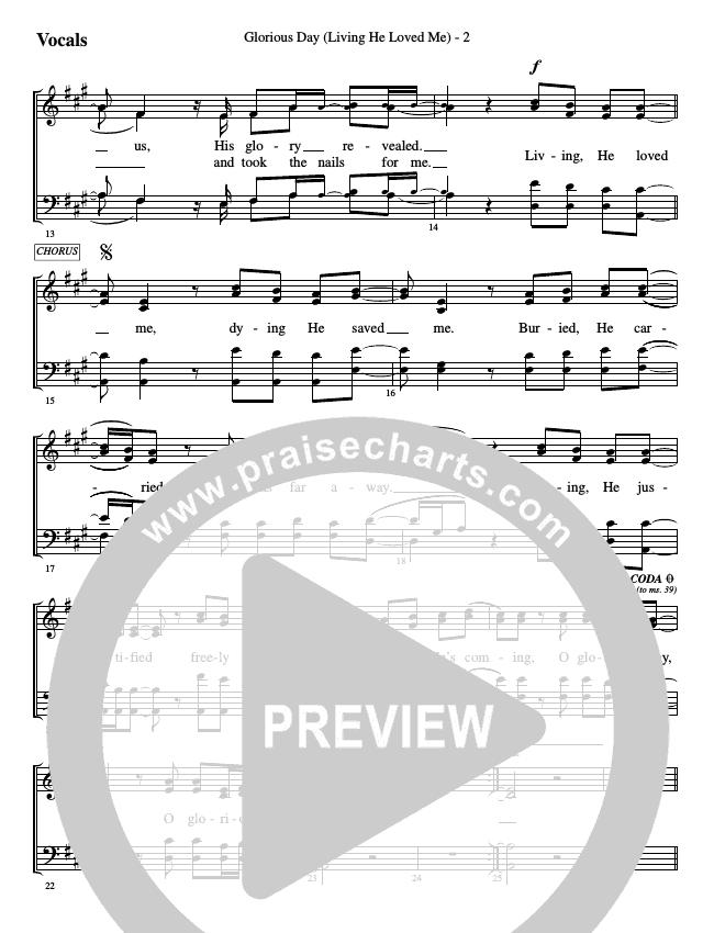 Glorious Day (Living He Loved Me) Choir Sheet (SATB) (WorshipTeam.tv)
