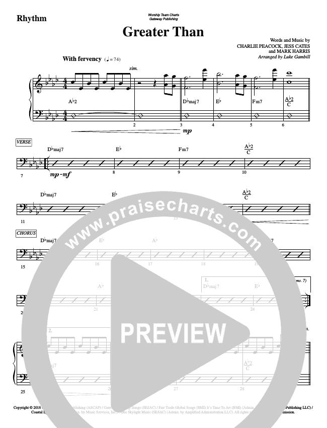 Greater Than Rhythm Chart (WorshipTeam.tv)