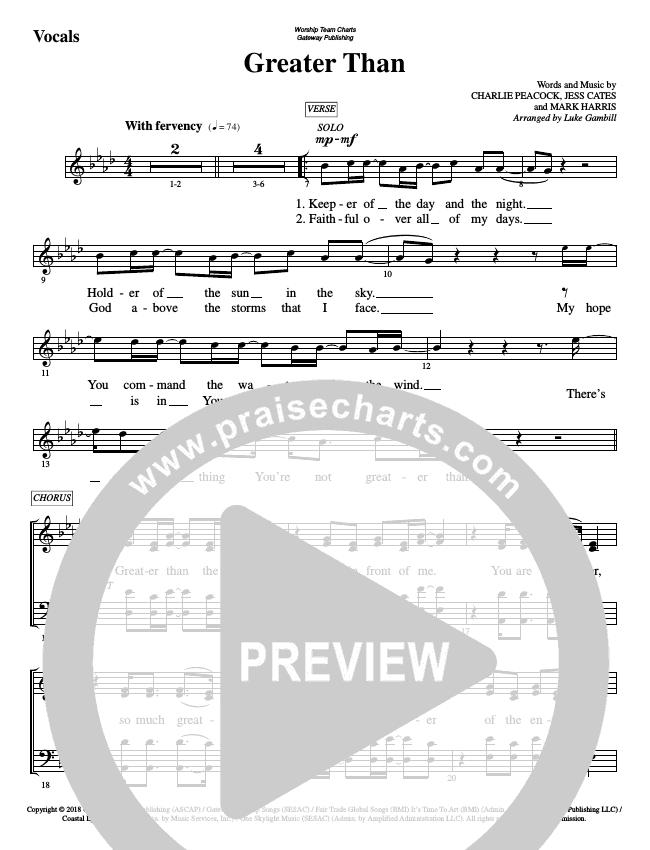 Greater Than Choir Sheet (SATB) (WorshipTeam.tv)