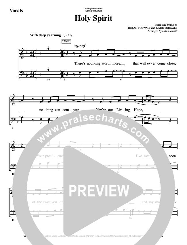 Holy Spirit  Choir Sheet (SATB) (WorshipTeam.tv)