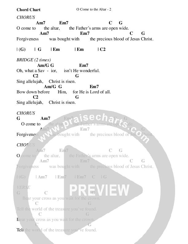 O Come To The Altar Chord Chart (WorshipTeam.tv)