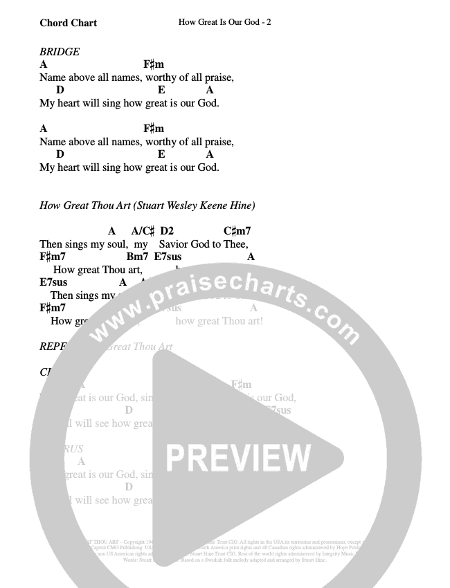 How Great Is Our God (How Great Thou Art) Chord Chart (WorshipTeam.tv)