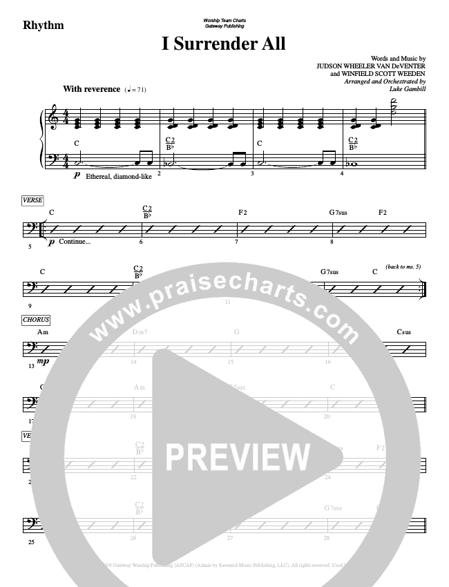 I Surrender All Rhythm Chart (WorshipTeam.tv)