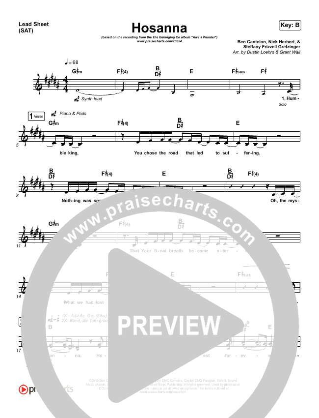 Hosanna Lead Sheet (SAT) (The Belonging Co / Kari Jobe)