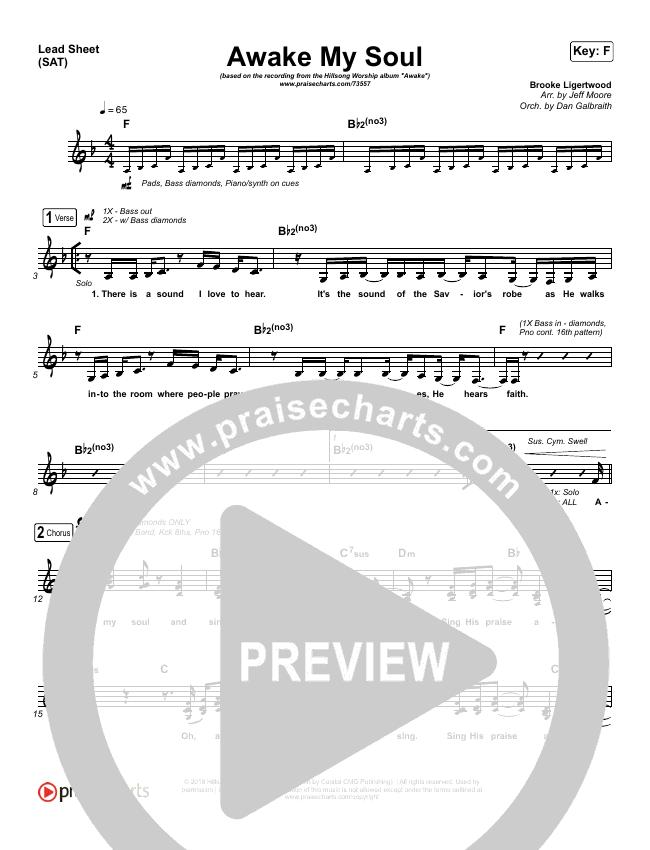 Awake My Soul Lead Sheet (SAT) (Hillsong Worship)