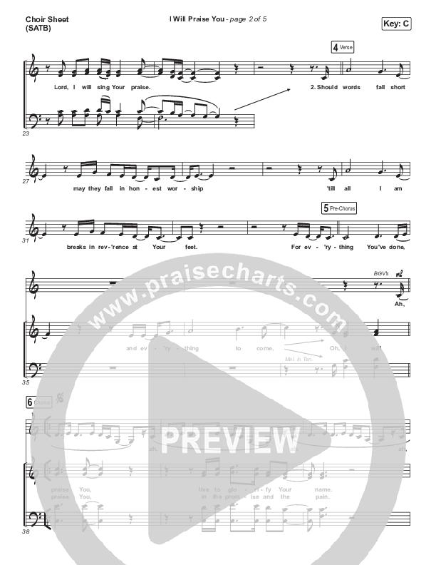I Will Praise You Choir Sheet (SATB) (Hillsong Worship)