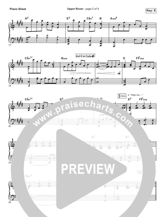 Upper Room Piano Sheet (Hillsong Worship)