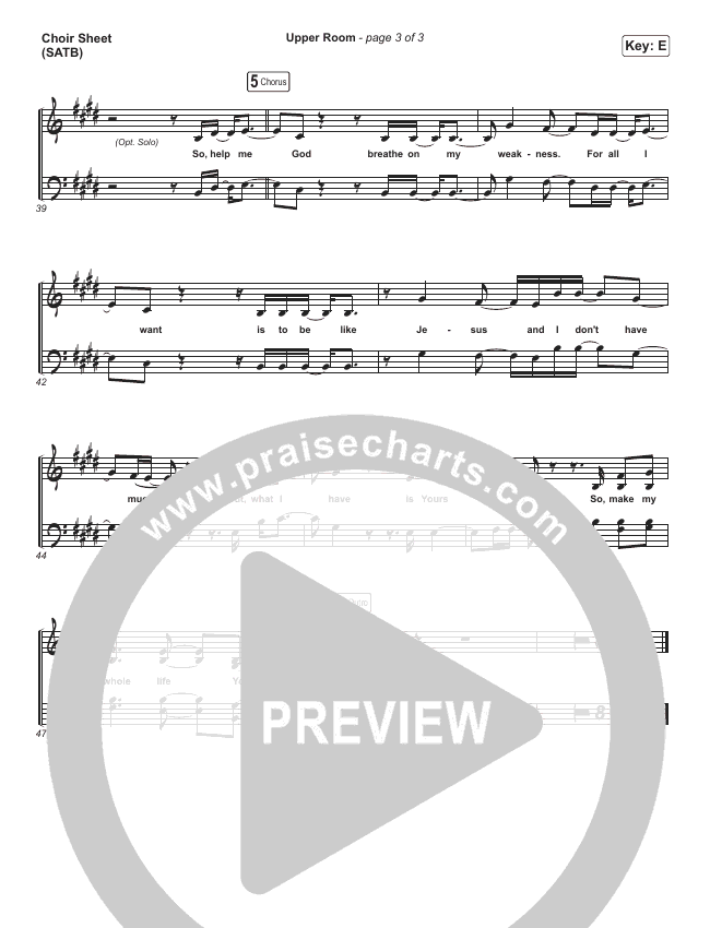 Upper Room Choir Sheet (SATB) (Hillsong Worship)