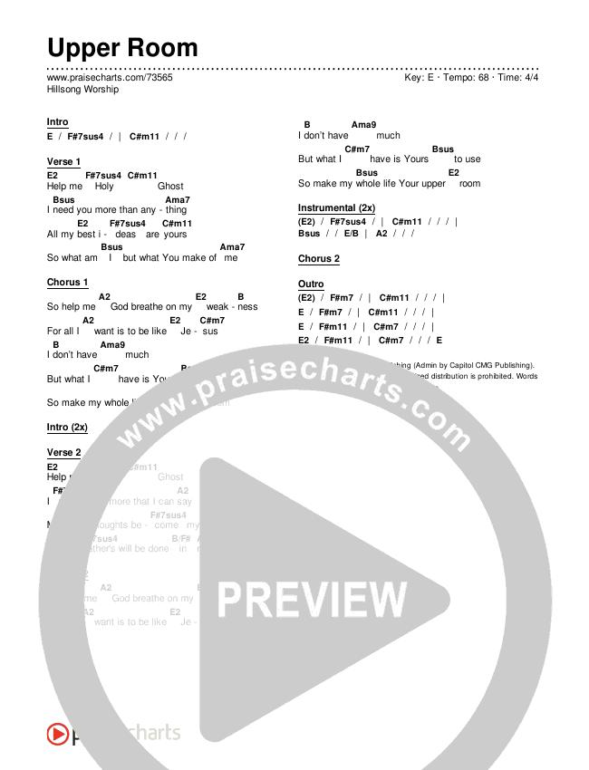 Upper Room Chords & Lyrics (Hillsong Worship)
