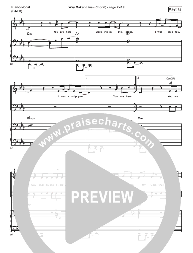 Way Maker (Choral) Orchestration (PraiseCharts Choral / Leeland)