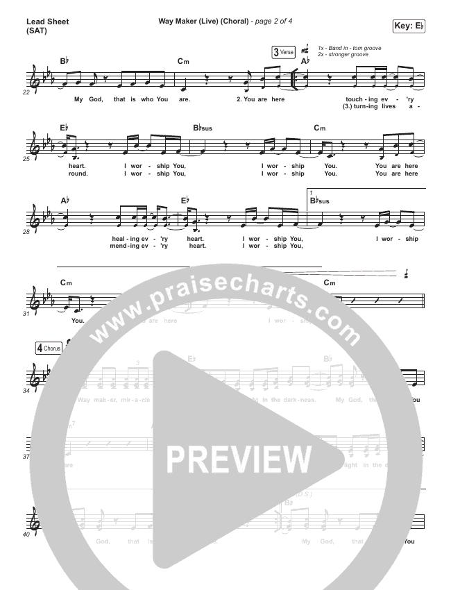 Way Maker (Choral) Piano/Vocal (SATB) (PraiseCharts Choral / Leeland)