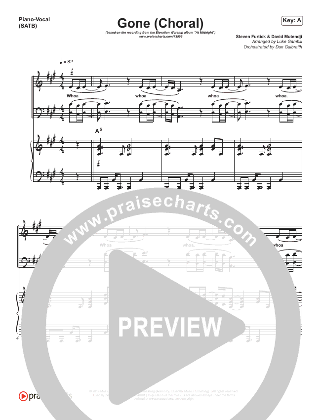 Gone (Choral) Piano/Vocal (SATB) (PraiseCharts Choral / Elevation Worship / Arr. Luke Gambill)