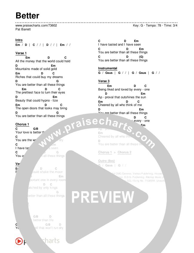 Better (Live) Chords & Lyrics (Pat Barrett)