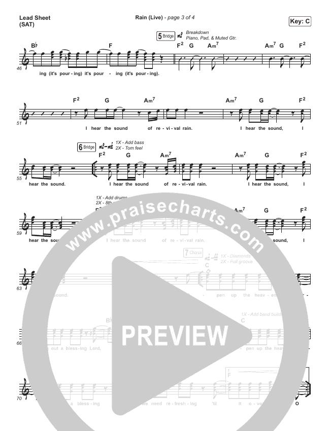 Rain (Live) Lead Sheet (SAT) (Leeland / Noel Robinson)