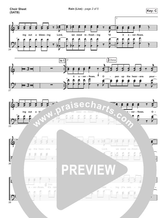 Rain (Live) Choir Sheet (SATB) (Leeland / Noel Robinson)