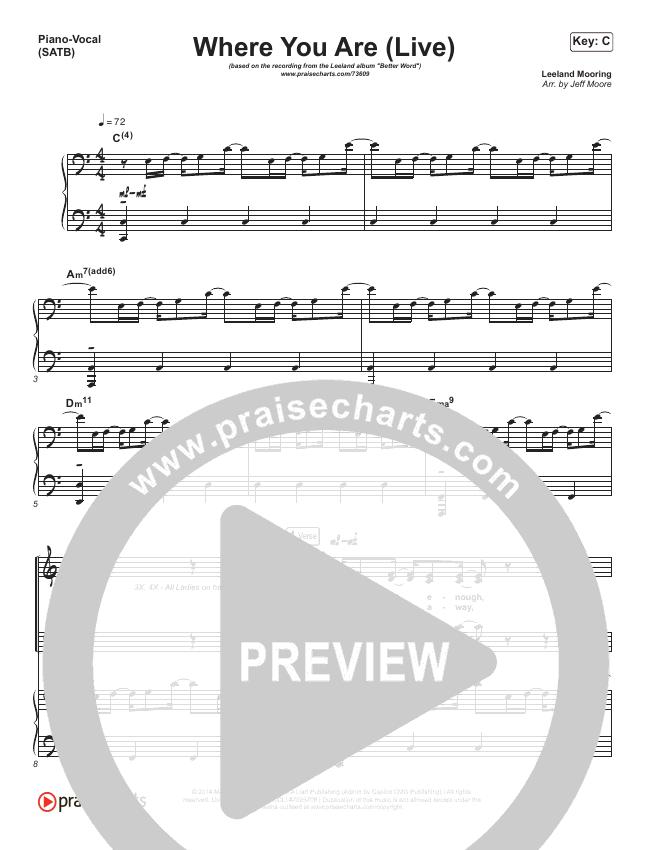 Where You Are (Live) Piano/Vocal (SATB) (Leeland)