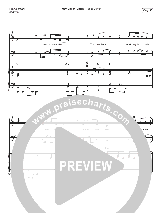 Way Maker (Choral) Orchestration (PraiseCharts Choral / Sinach)