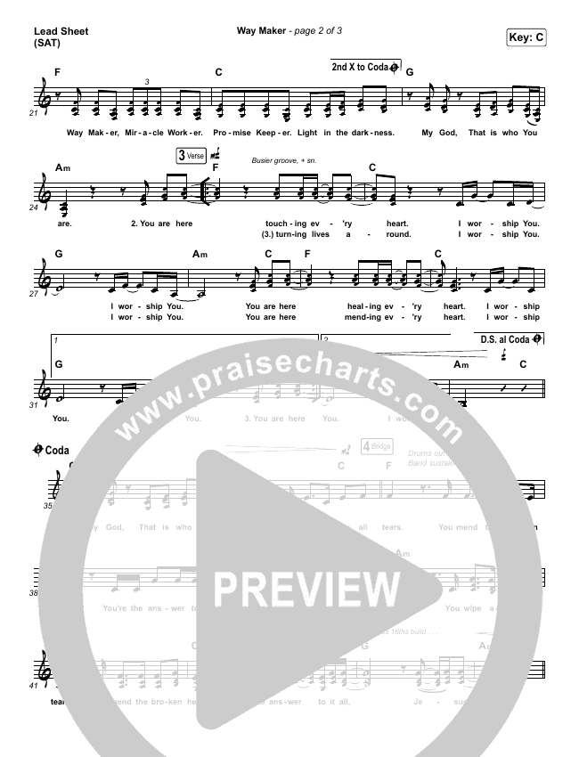 Way Maker (Choral) Piano/Vocal (SATB) (PraiseCharts Choral / Sinach)