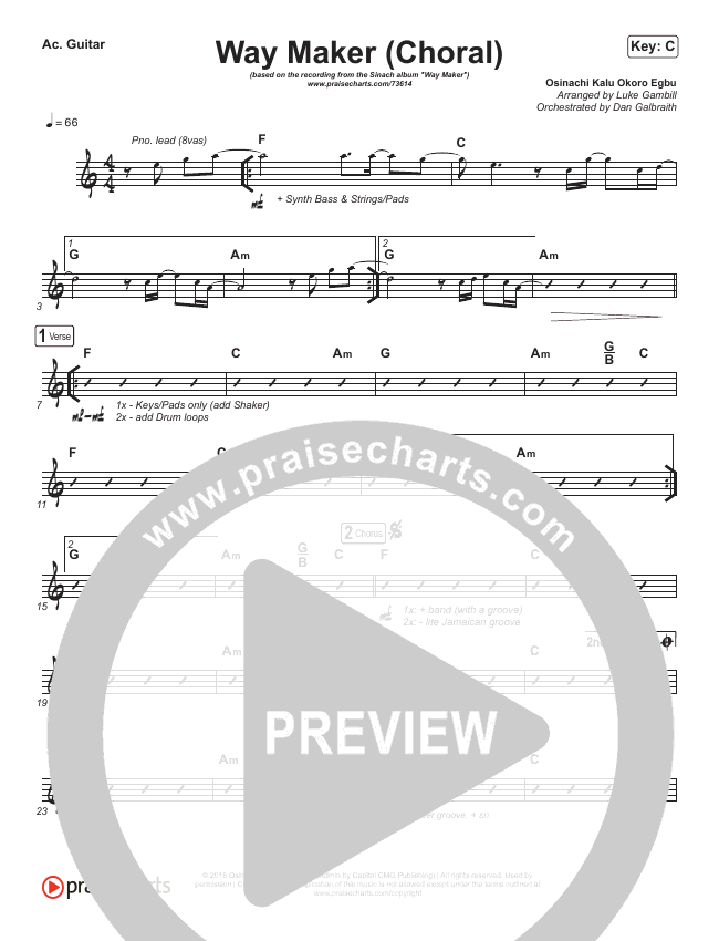 Way Maker (Choral) Rhythm Chart (PraiseCharts Choral / Sinach)