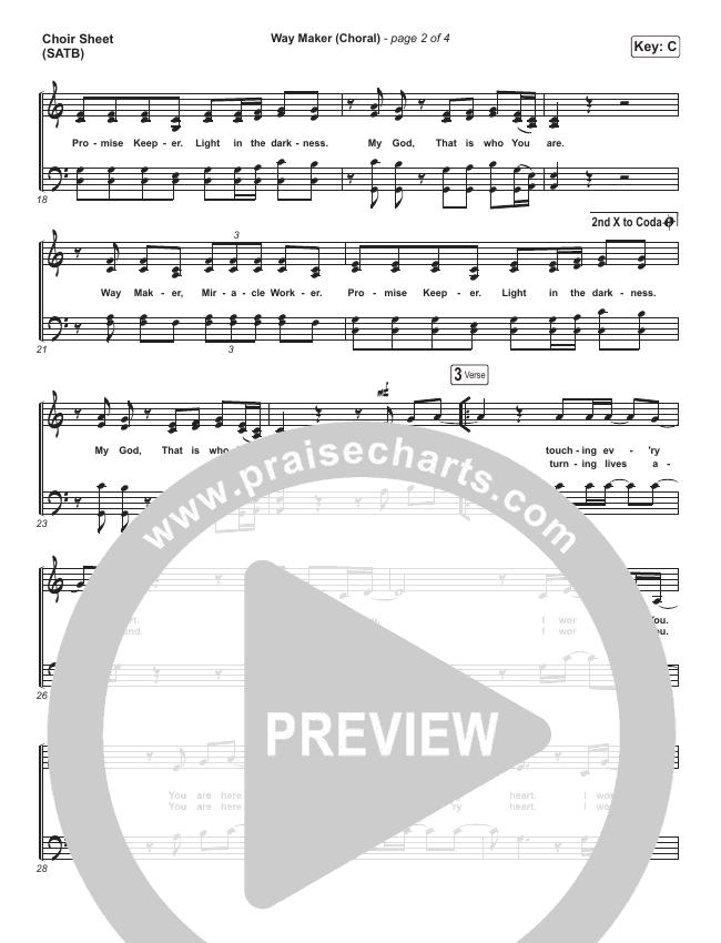 Way Maker (Choral) Choir Sheet (SATB) (PraiseCharts Choral / Sinach)