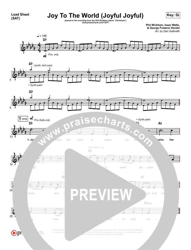 Joy To The World (Joyful Joyful) Lead & Piano/Vocal (Phil Wickham)